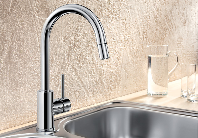 blanco mida s pull out chrome monobloc kitchen sink mixer tap single lever ebay. Black Bedroom Furniture Sets. Home Design Ideas